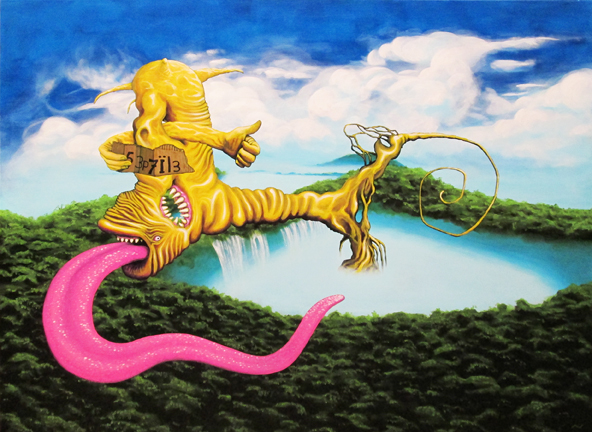 Le septile, acrylique sur toile 36'' x 48''