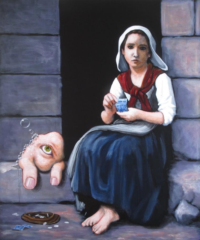 """La mendiante et son charme, 12 x 10"""" acrylique sur panneau"""