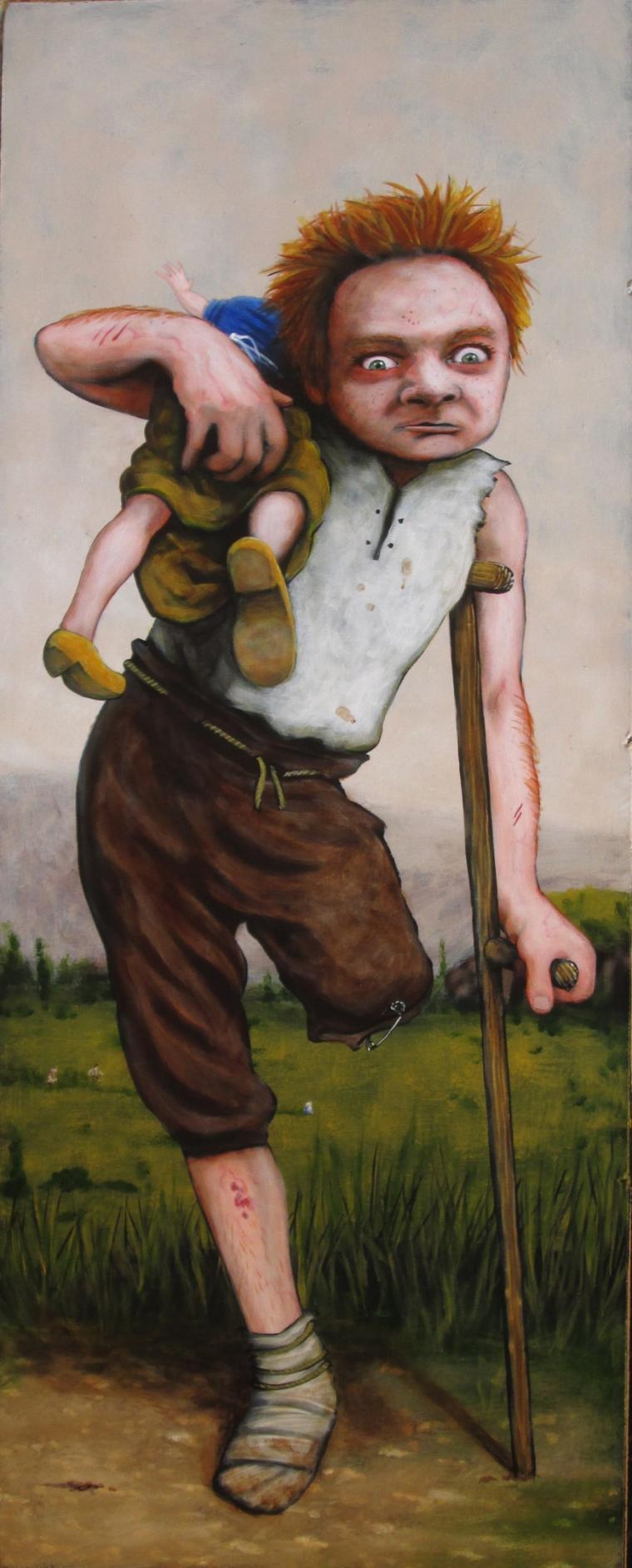 """Travail aux champs, le temps des cerises, 20 x 8"""" acrylique sur panneau"""