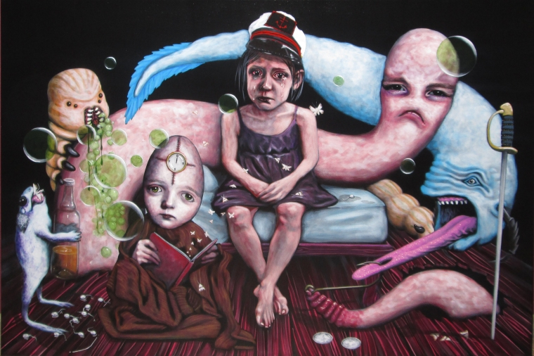 Galère insomniaque, acrylique sur toile 24 x 36