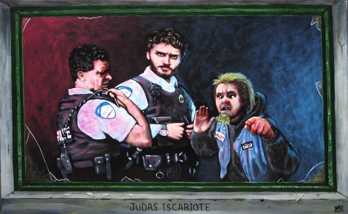 Judas iscariote 17.5 x 27.5 po. Acrylique sur panneau
