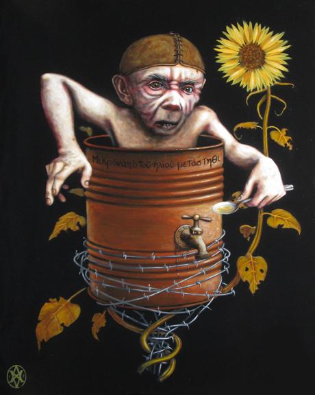 Diogène, 24 x 18'' acrylique sur panneau